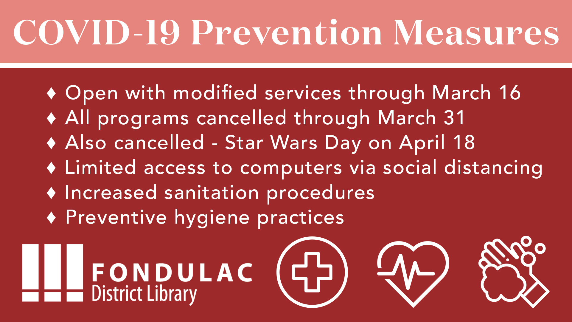 COVID 19 Prevention Measures U2013 Fondulac District Library